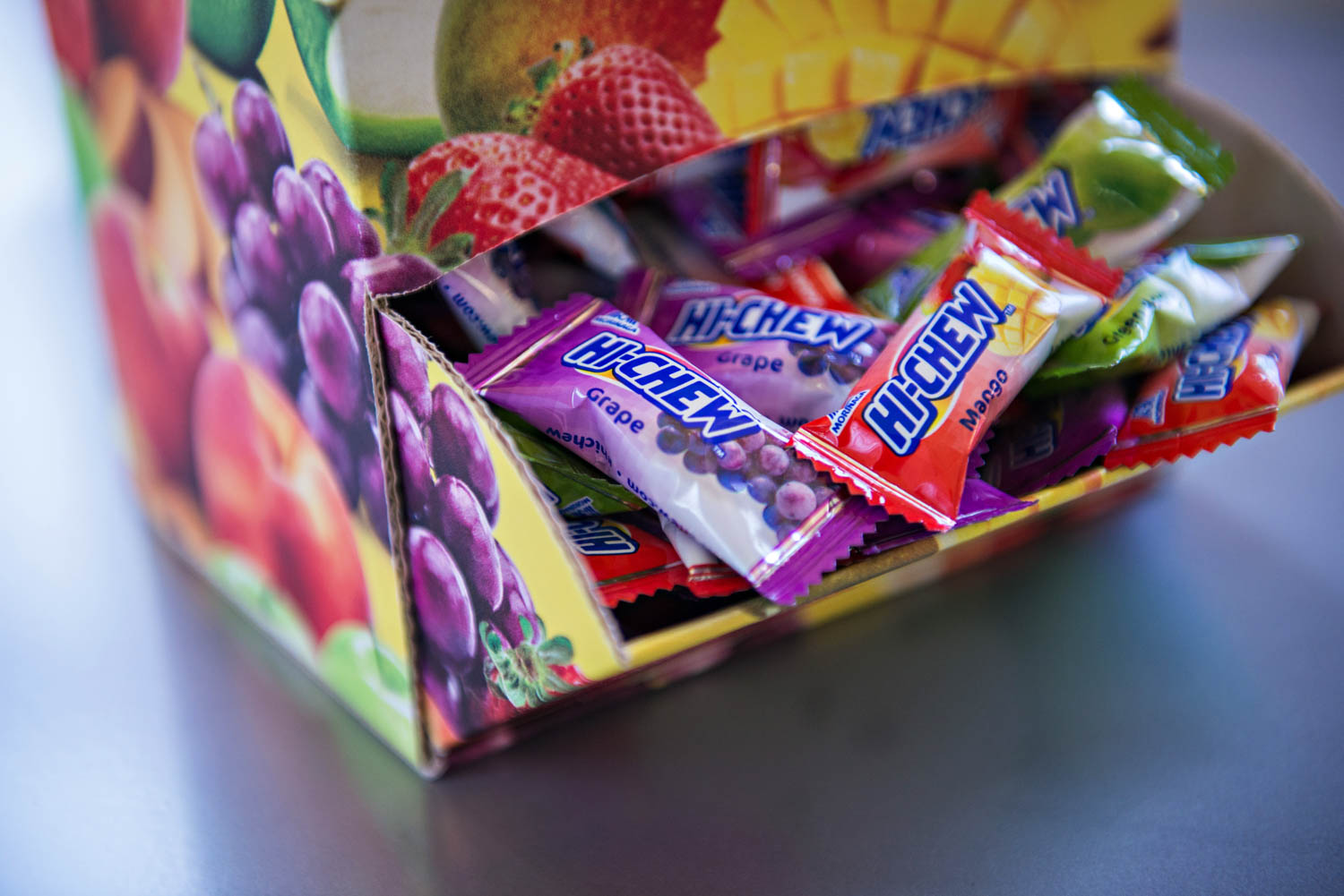 hi chew fruit chew point of purchase display by metaline