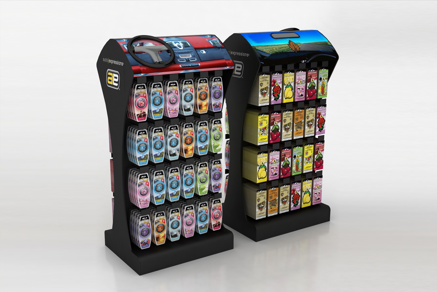 auto expressions custom point of purchase display by metaline